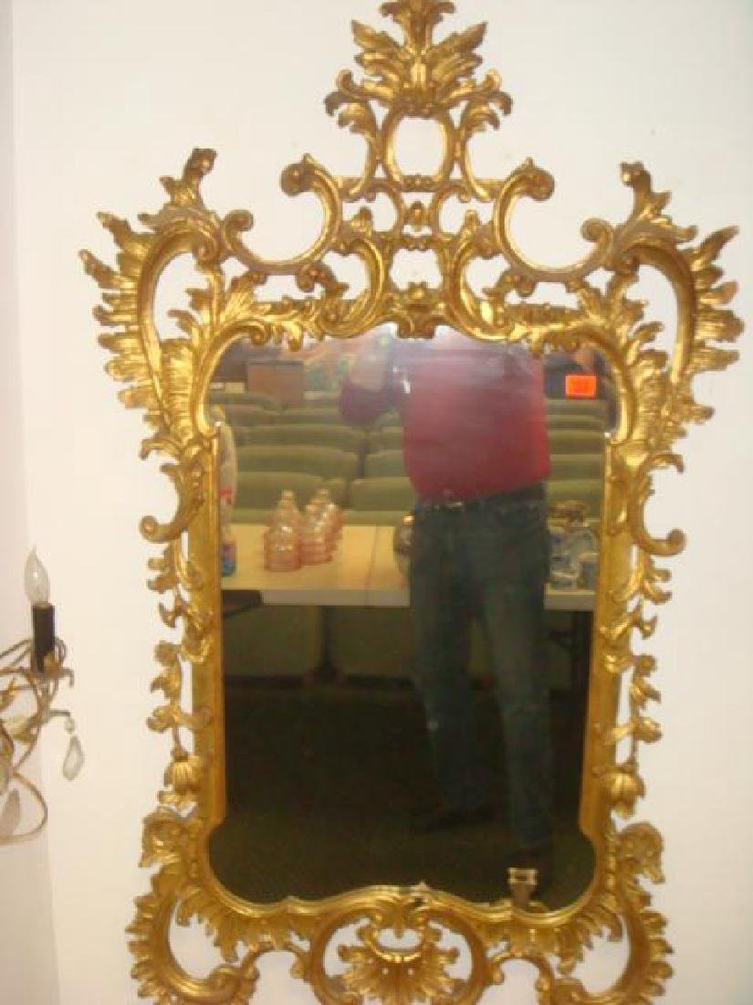 Large Gold Acanthus Leaf Rococo Mirror: