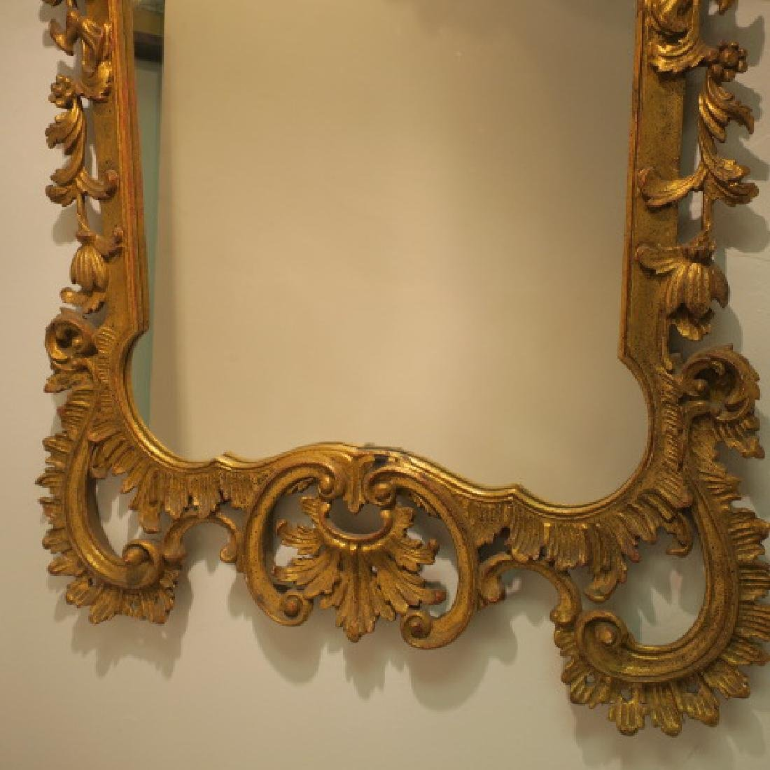 Large Gold Acanthus Leaf Rococo Mirror: - 3