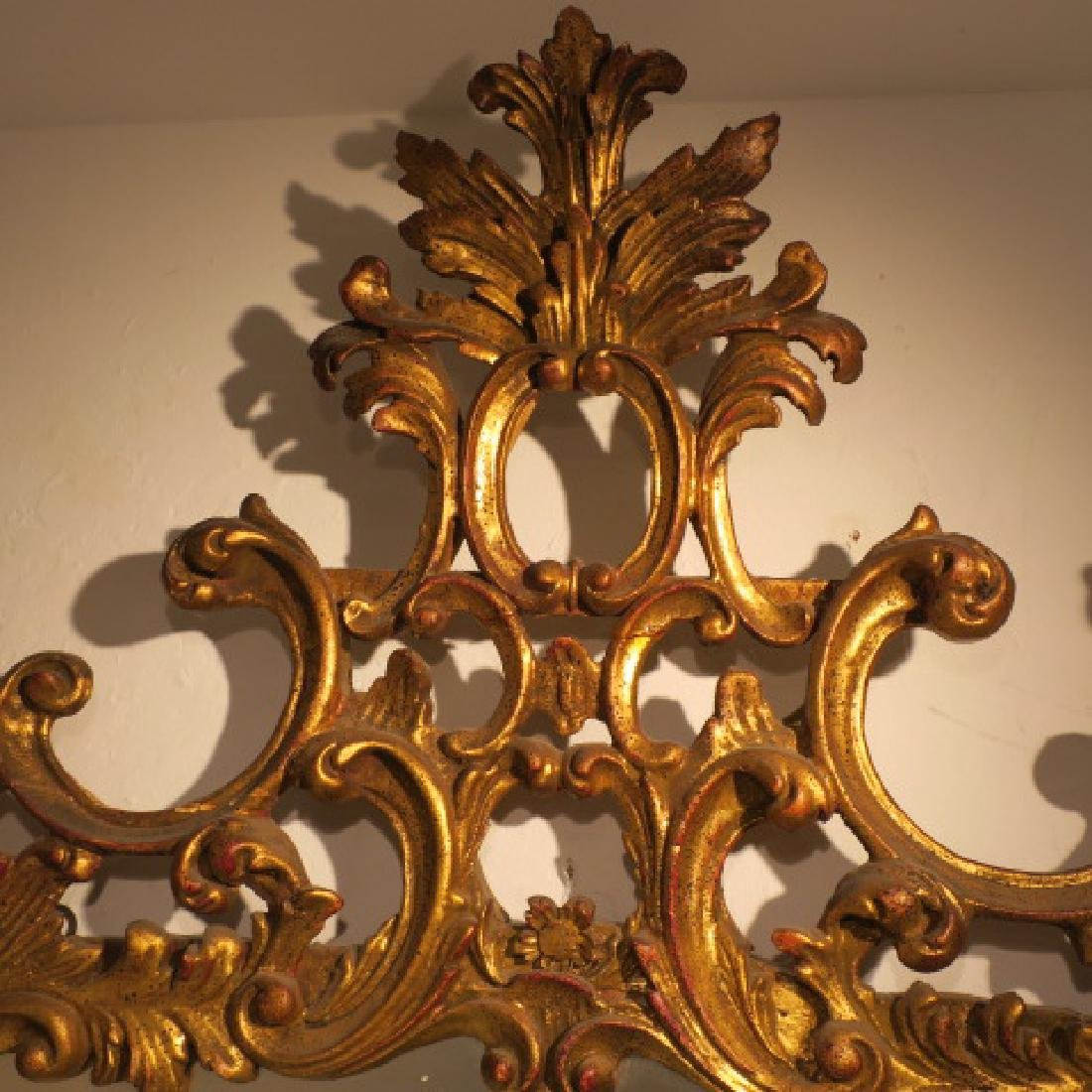 Large Gold Acanthus Leaf Rococo Mirror: - 4