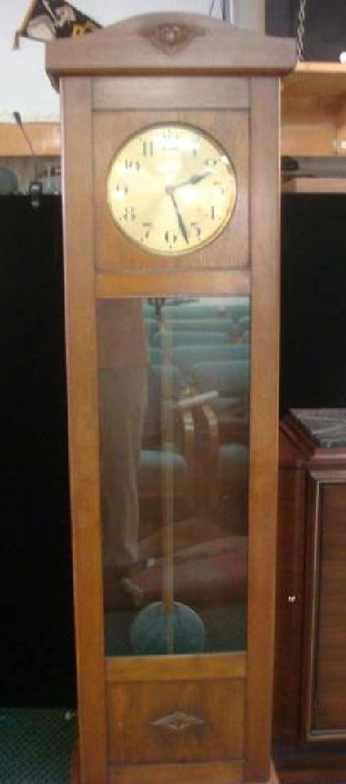 GUSTAV BECKER Early 20th C. Oak Long Case Clock: