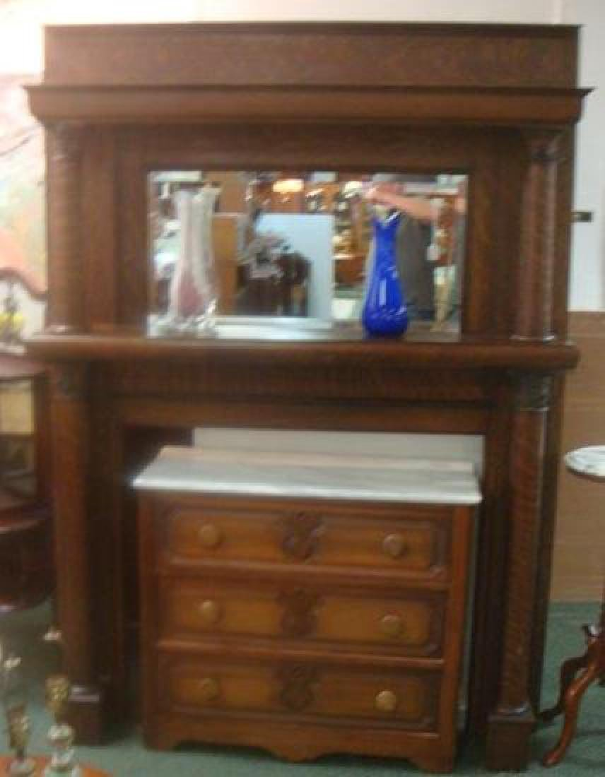 19th Century American Tiger Oak Mirror Back Mantle: