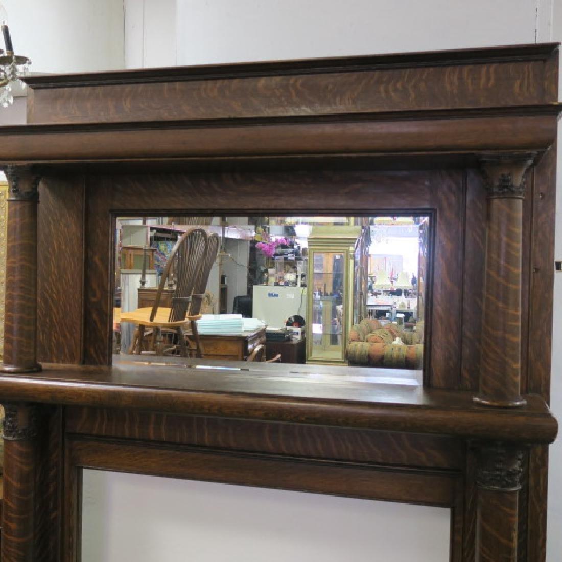 19th Century American Tiger Oak Mirror Back Mantle: - 2