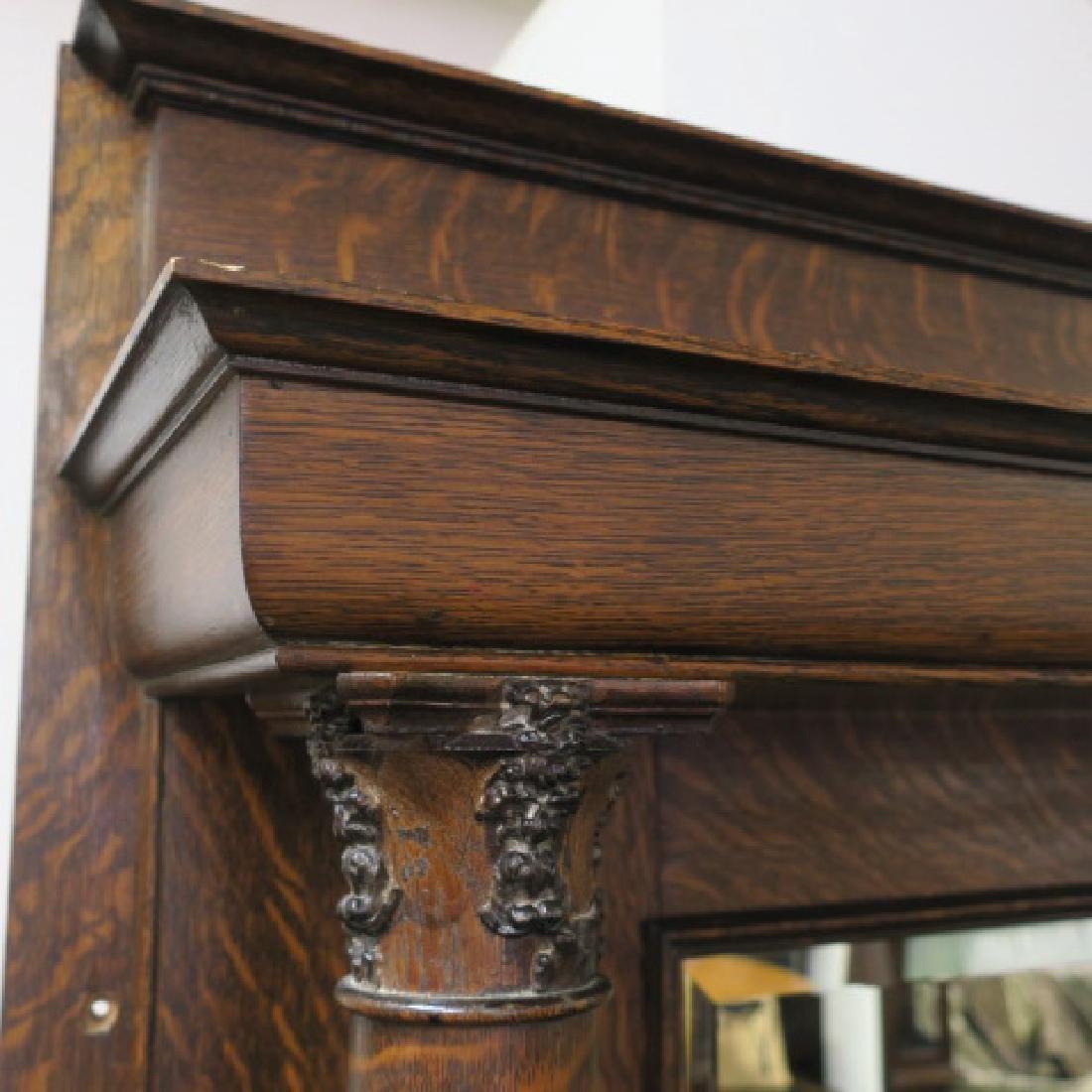 19th Century American Tiger Oak Mirror Back Mantle: - 3