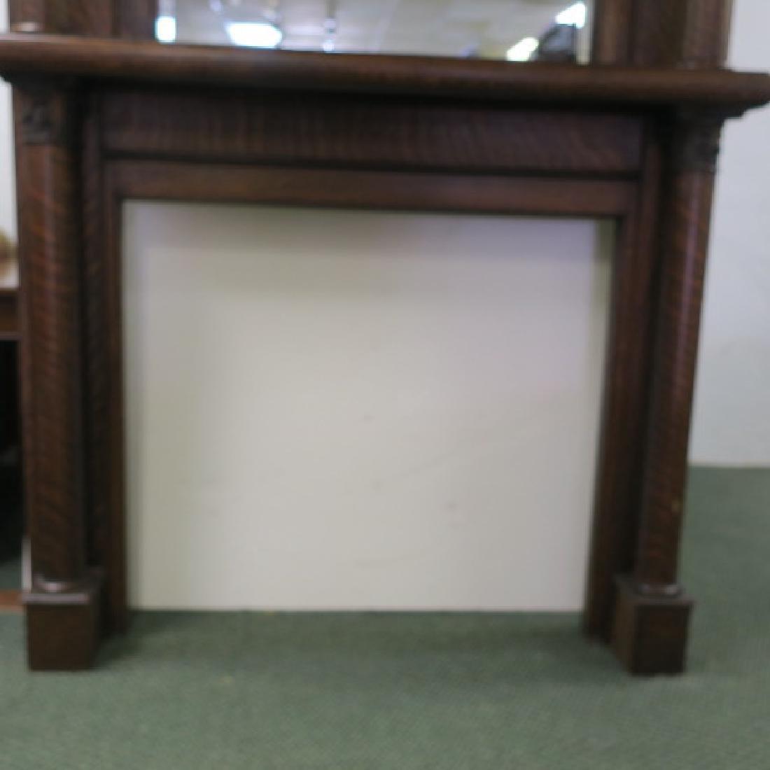 19th Century American Tiger Oak Mirror Back Mantle: - 4