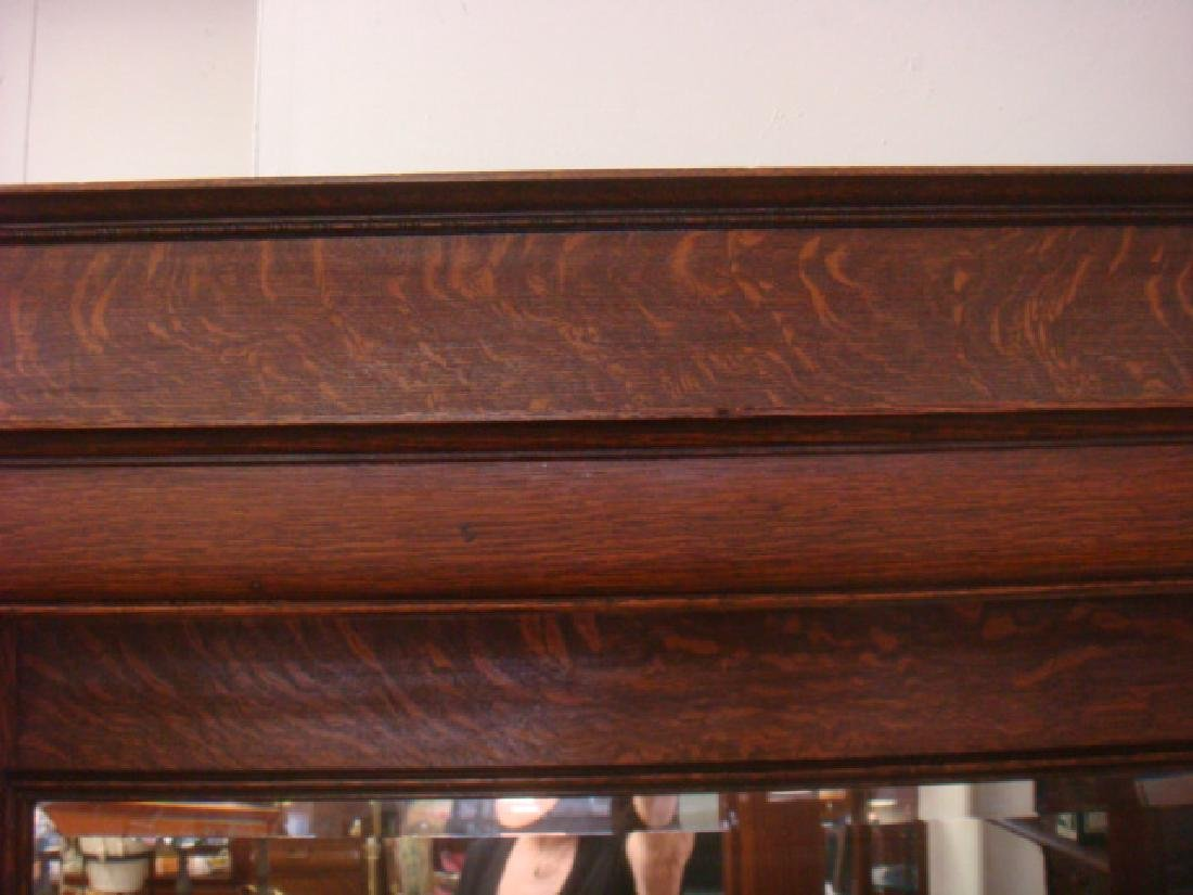 19th Century American Tiger Oak Mirror Back Mantle: - 5