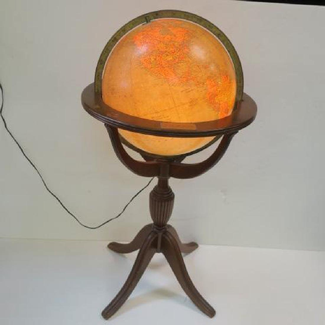 """REPLOGE 16"""" Lighted Library Globe with Stand, CA 1940:"""