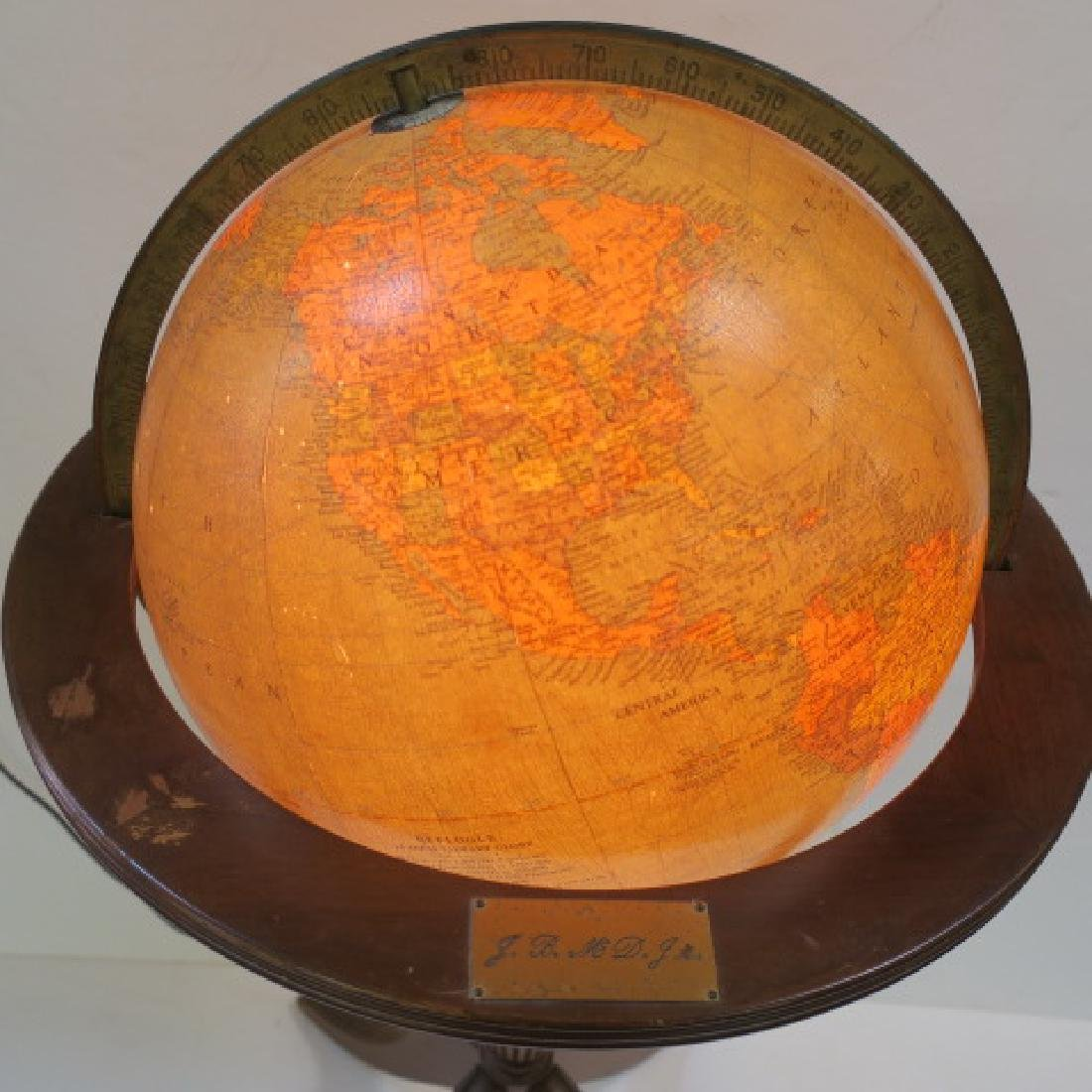 """REPLOGE 16"""" Lighted Library Globe with Stand, CA 1940: - 2"""