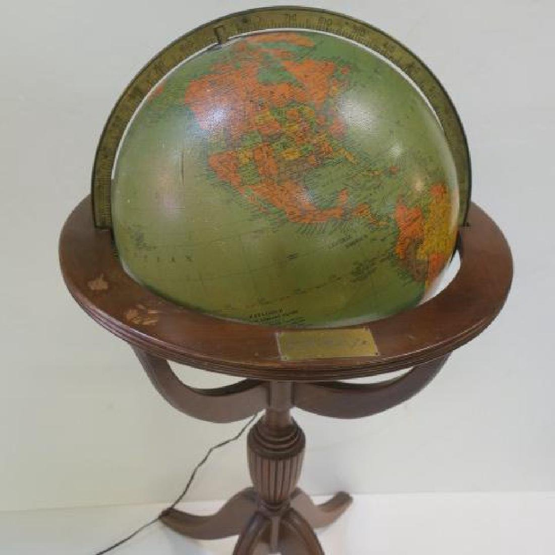 """REPLOGE 16"""" Lighted Library Globe with Stand, CA 1940: - 3"""