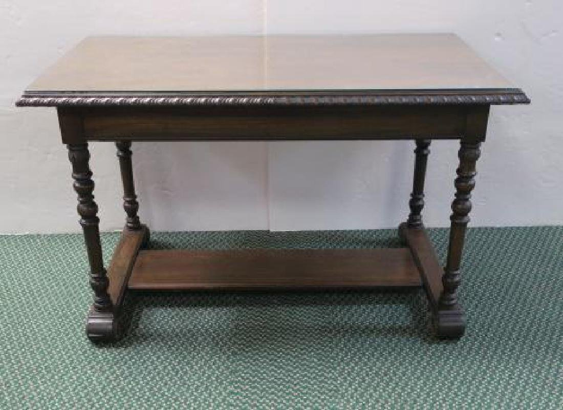 Mahogany Library Table with Trestle Base: