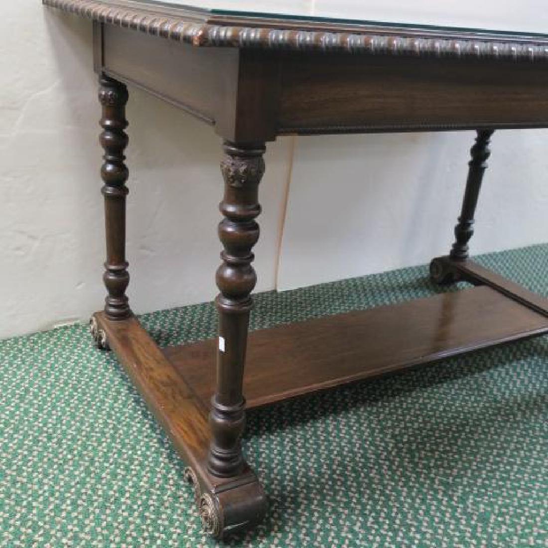 Mahogany Library Table with Trestle Base: - 2