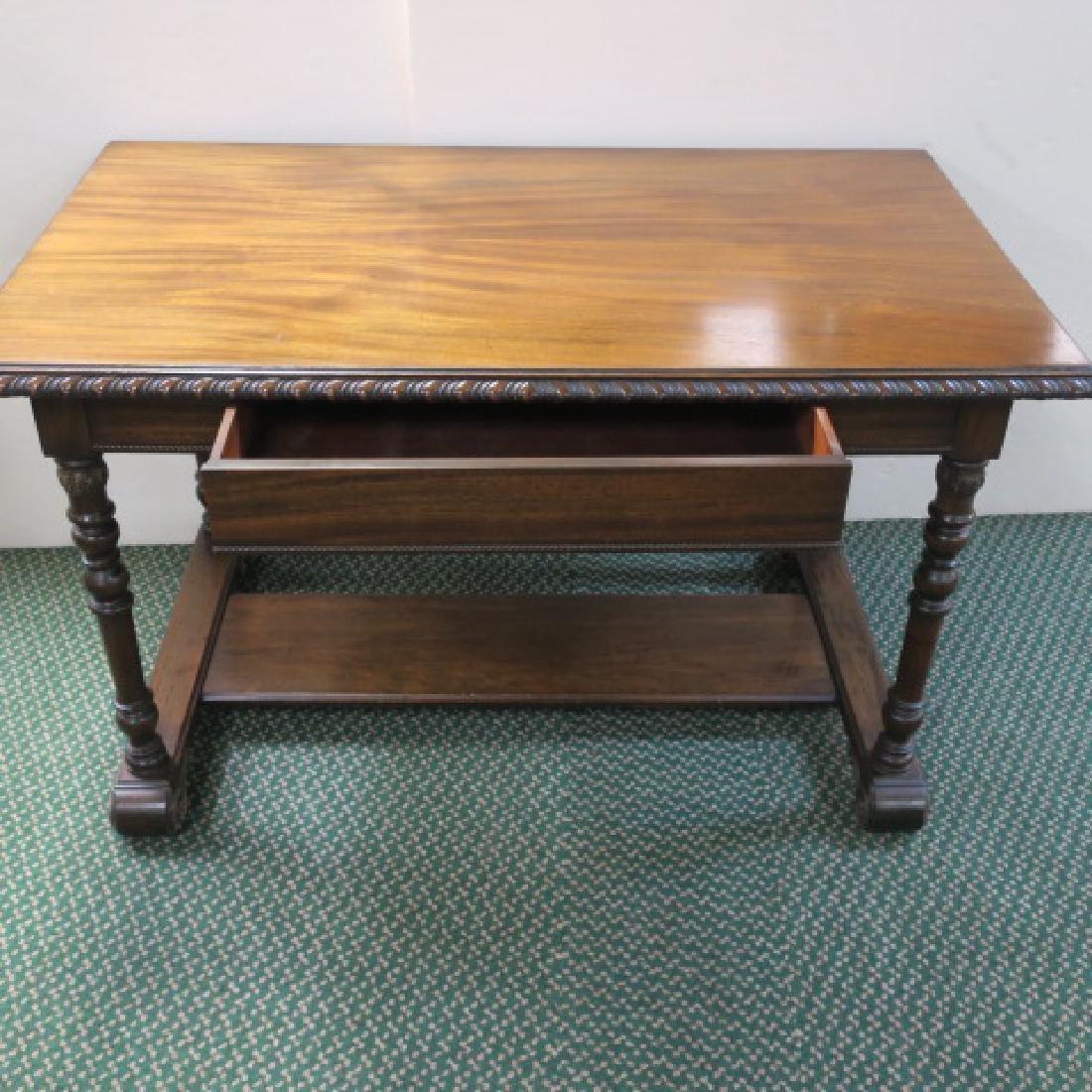 Mahogany Library Table with Trestle Base: - 4