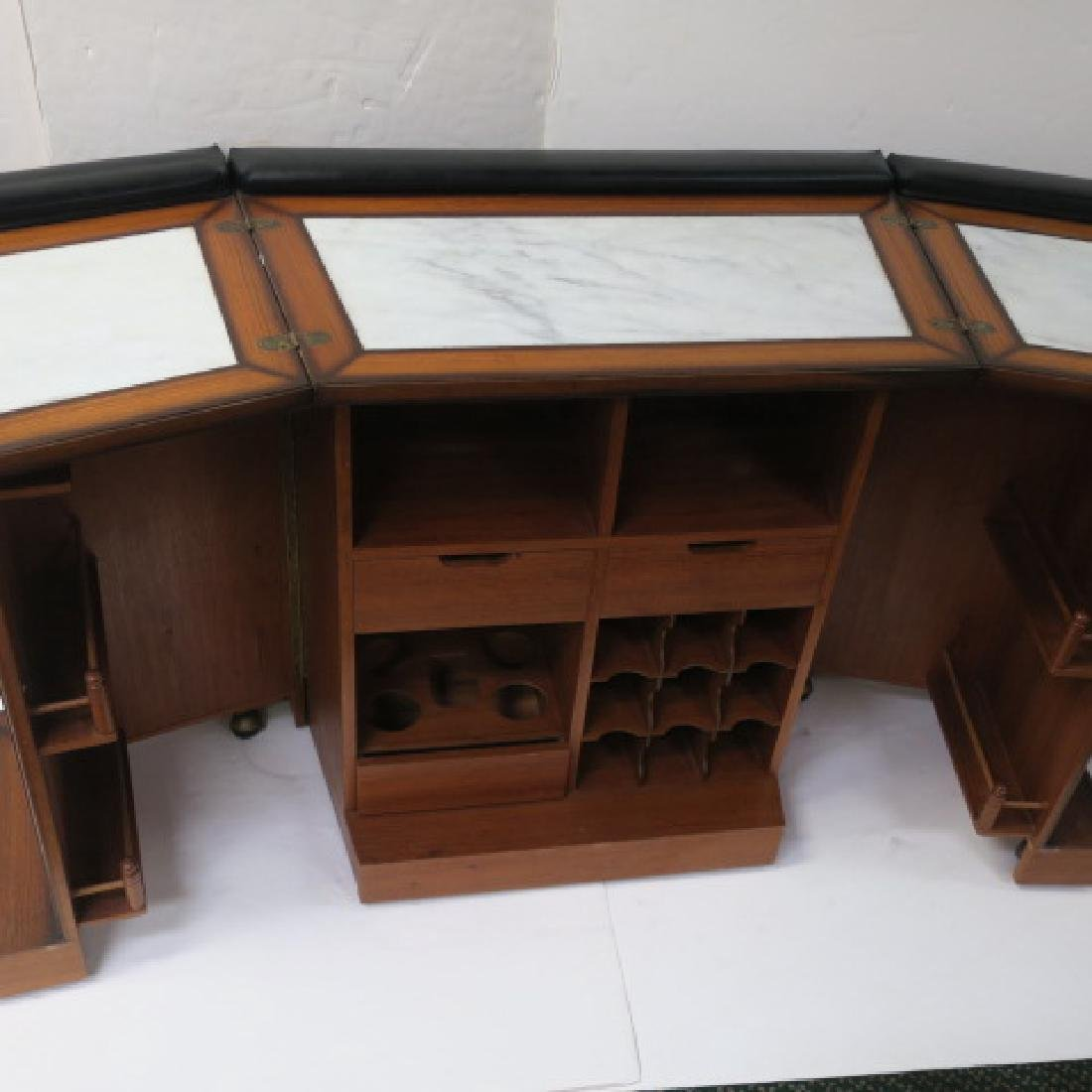 Tudor Style Bar with Fold Out Top, Hinged Sides: - 2