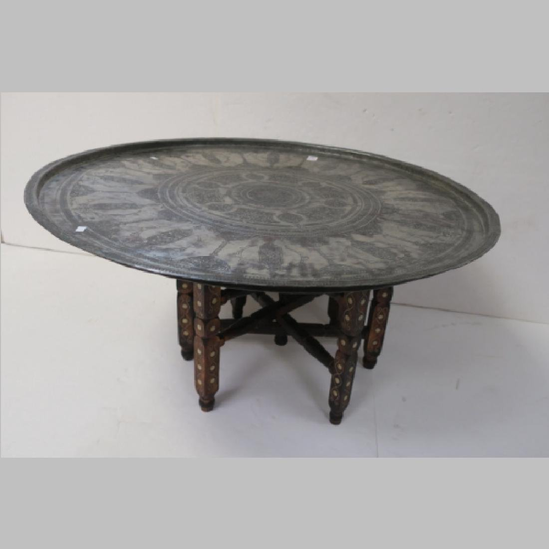 Round Metal East Asian Table with Folding Legs: