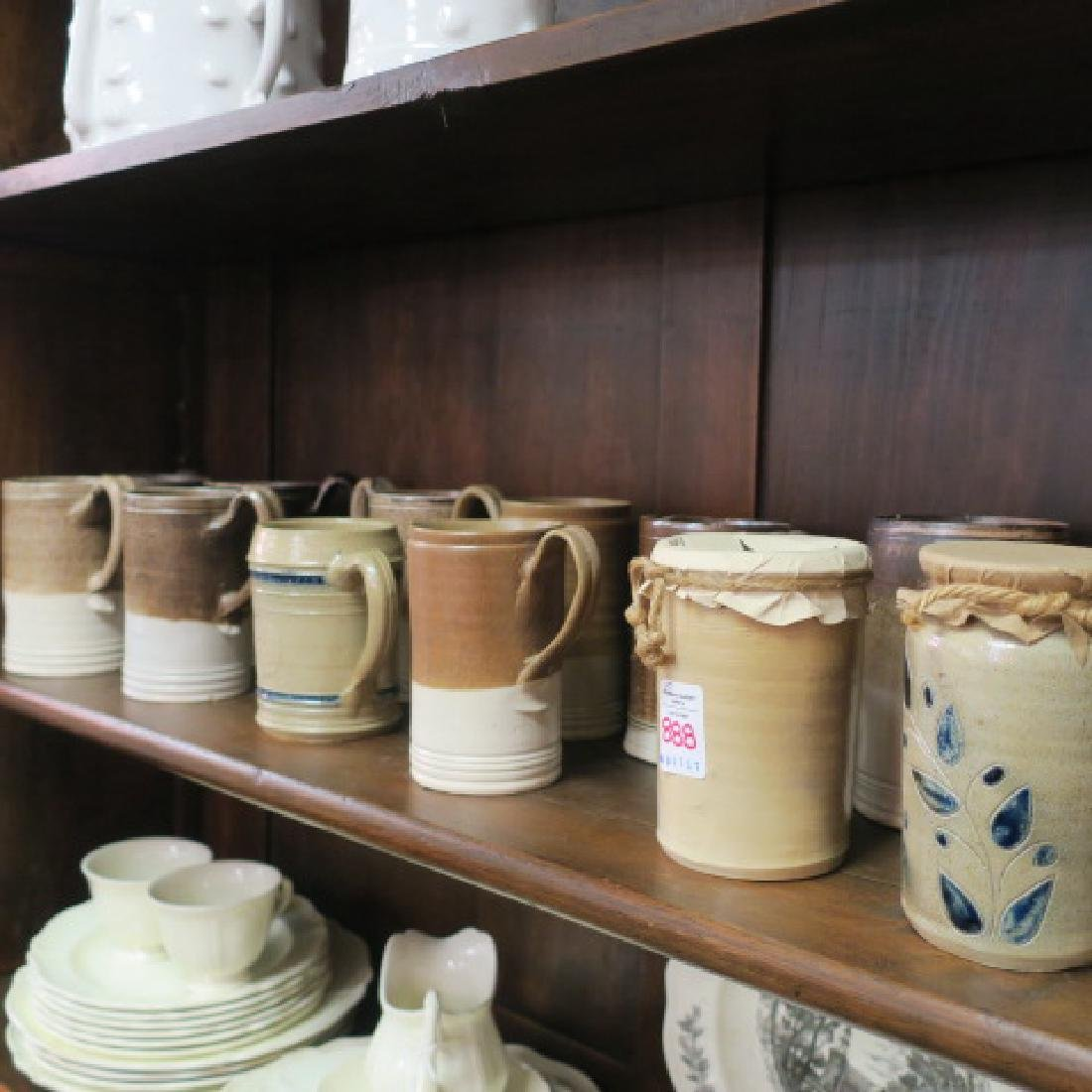 Thirteen Salt Glazed Stoneware Tankards, 2 Pots: