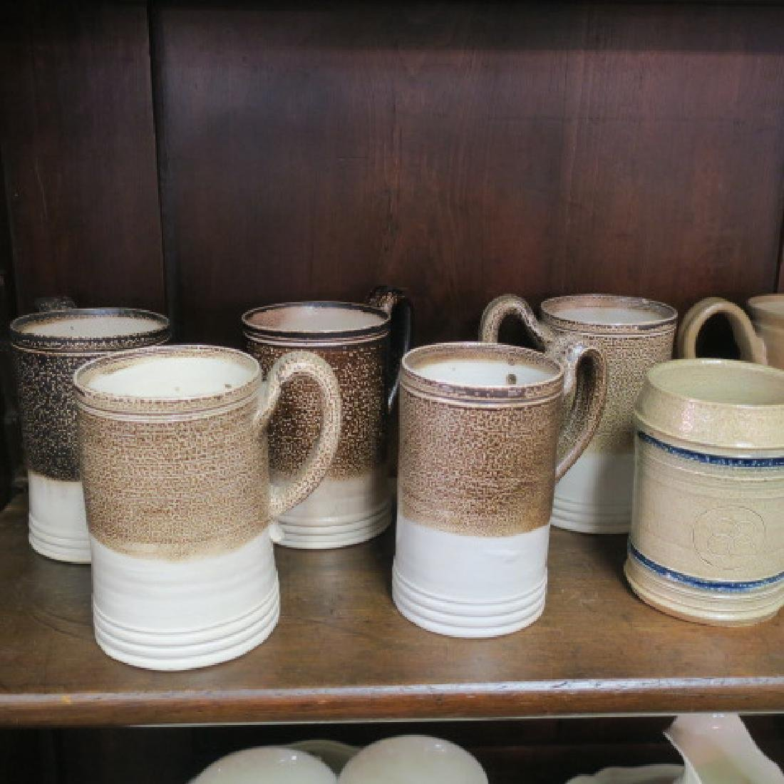 Thirteen Salt Glazed Stoneware Tankards, 2 Pots: - 2