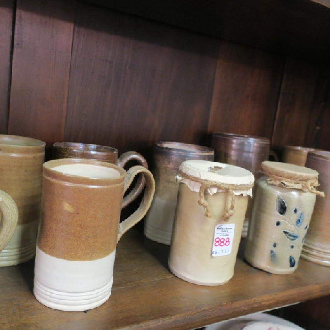 Thirteen Salt Glazed Stoneware Tankards, 2 Pots: - 3