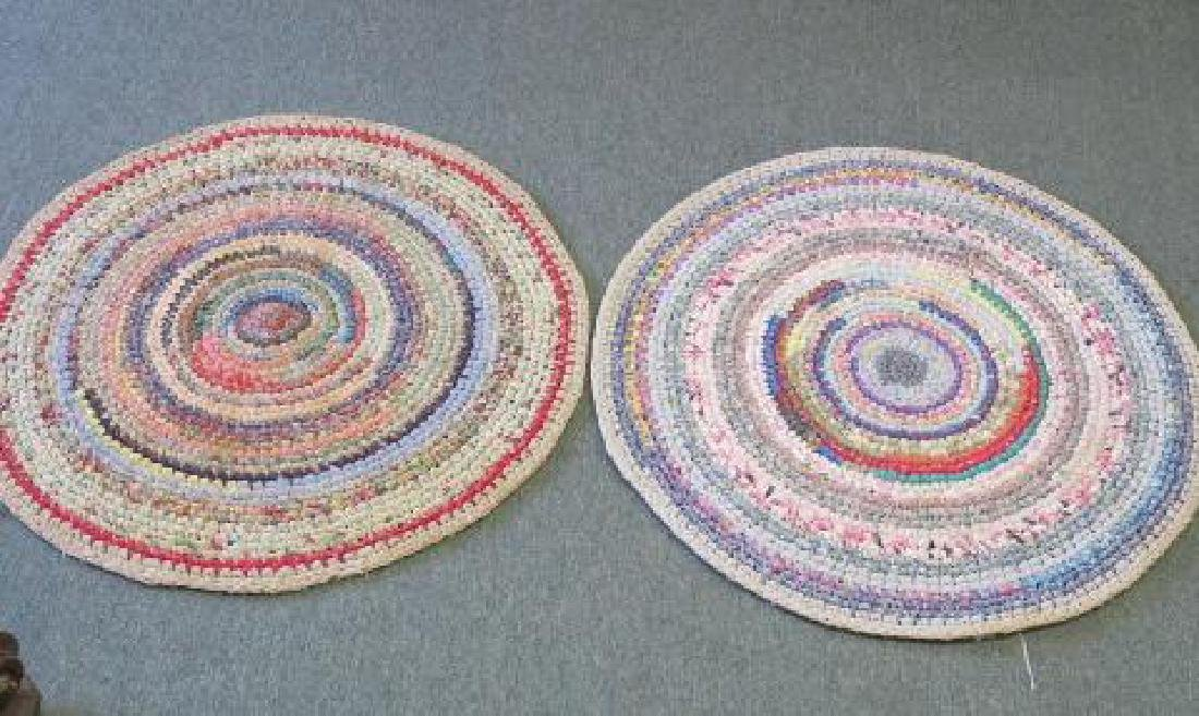 Two Round Braided Rag Area Rugs: