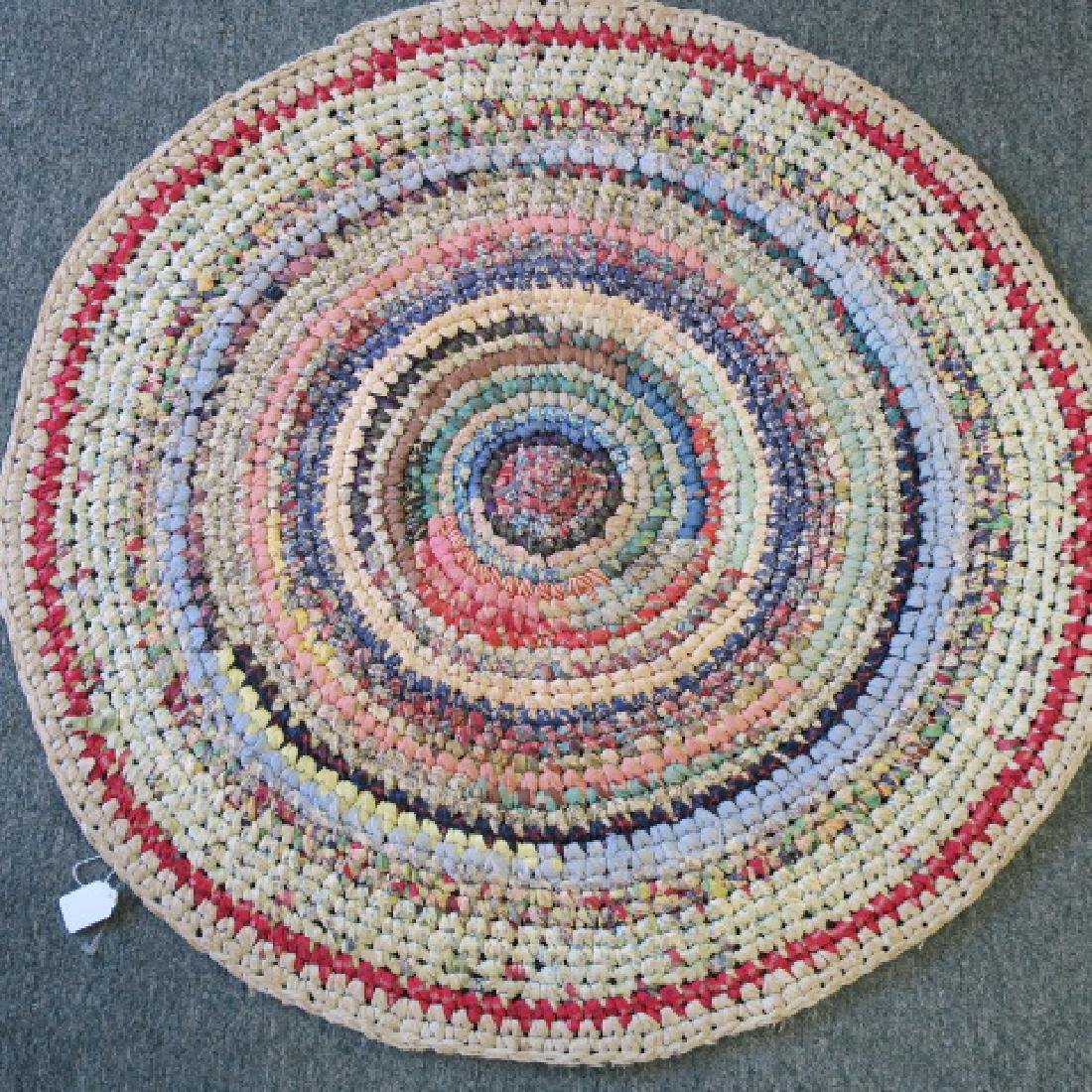 Two Round Braided Rag Area Rugs: - 2