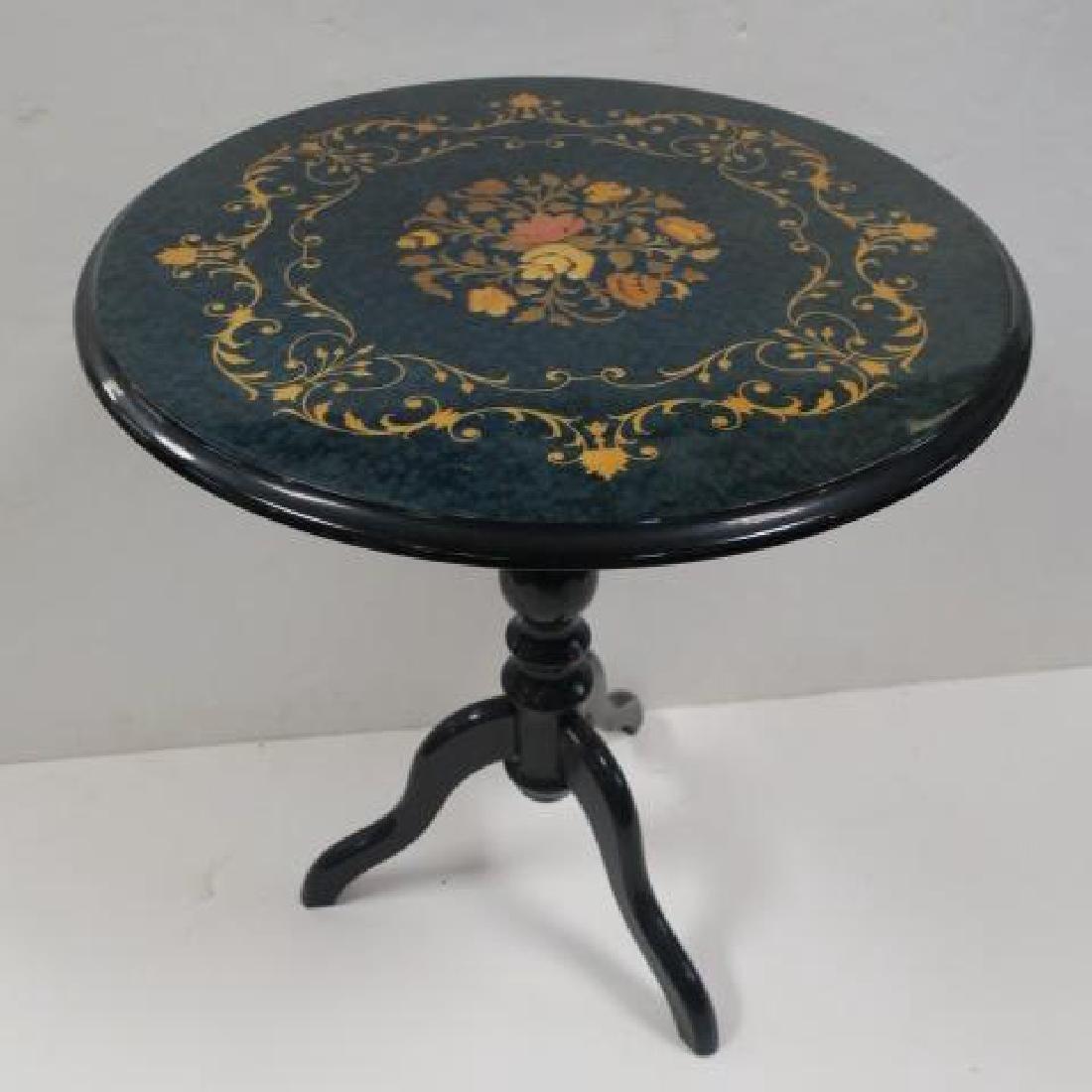 Italian Jade Color on Mahogany Round Pedestal Table: