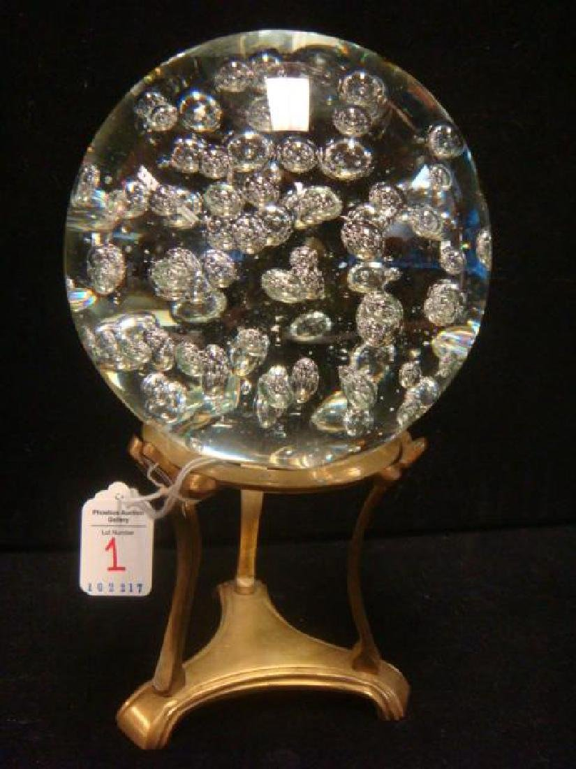 Large Clear Glass Paperweight with Bubbles on Stand: