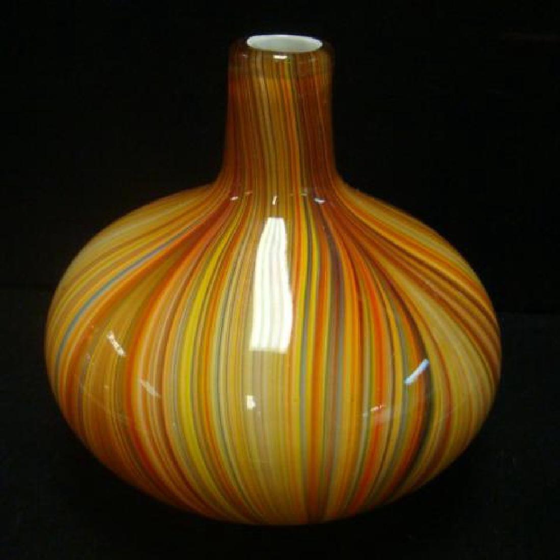 Bulbous Cased Glass Multicolor Vase: