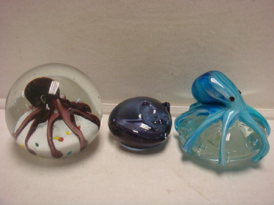 Two SPI Home Art Glass Octopus and Cat Paperweights:
