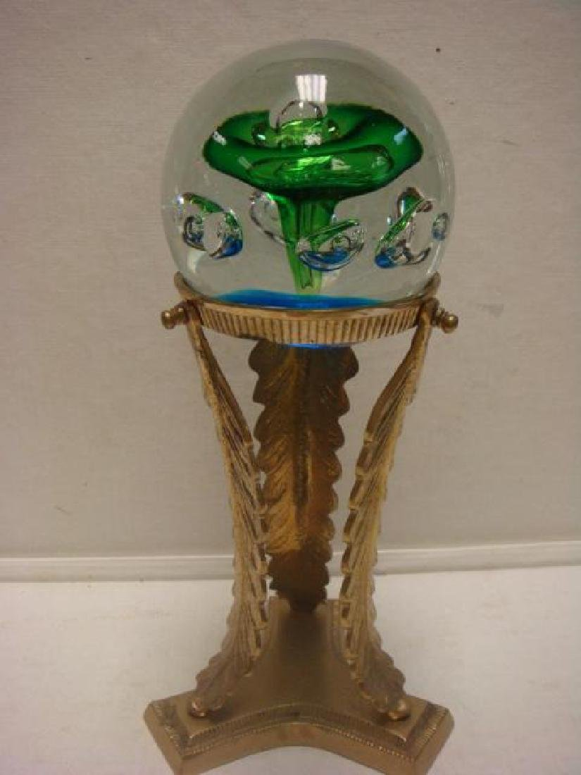 J PREN?? Signed Paperweight on Brass Stand: