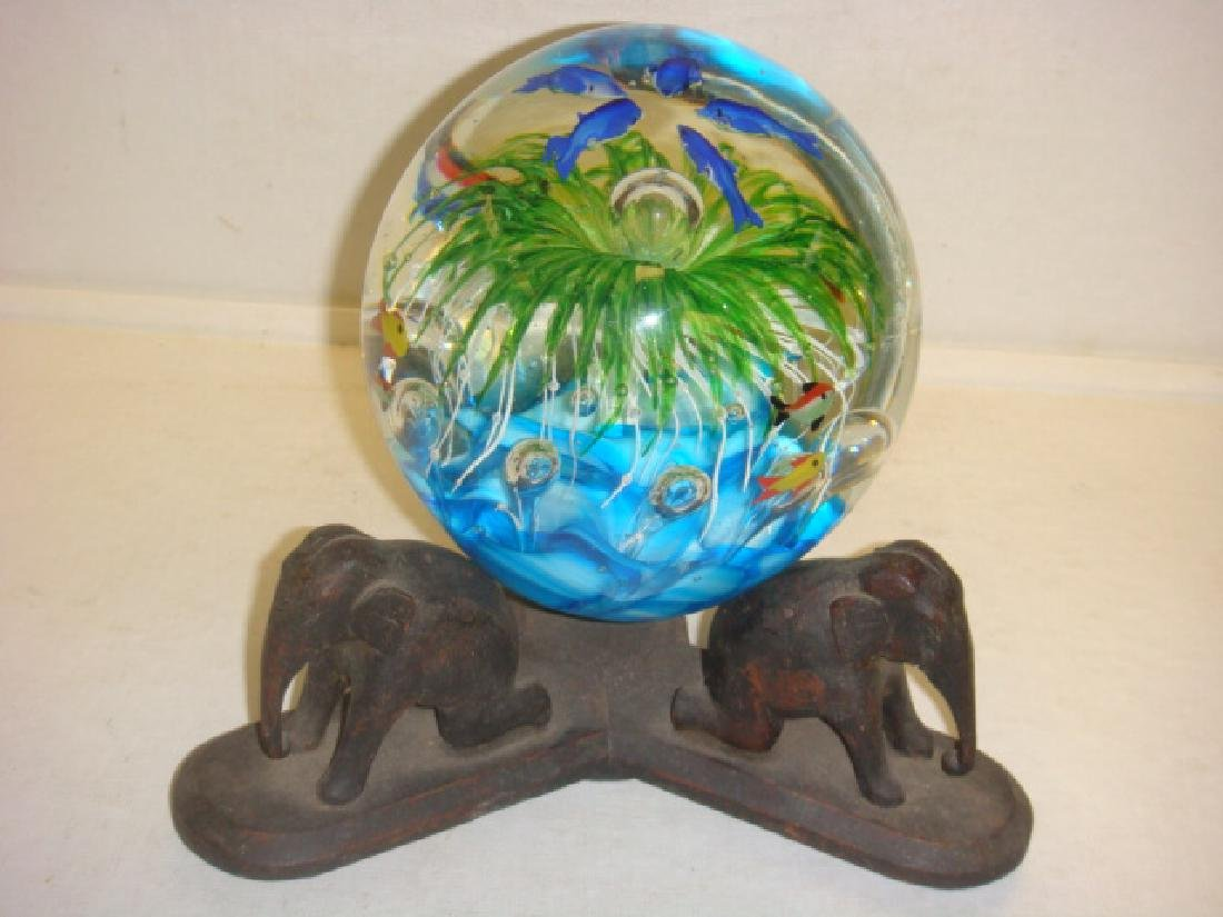 Large Sealife Paperweight on Carved Elephant Stand: