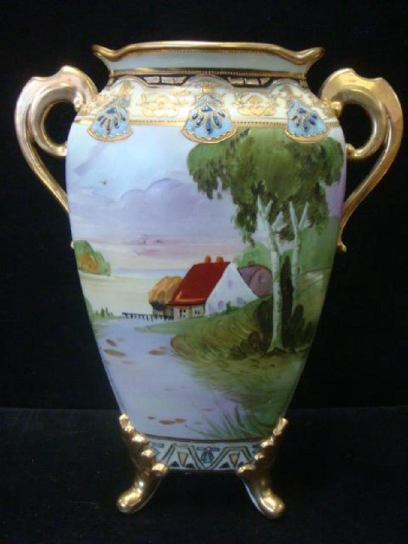 Hand Painted Nippon Double Handled Footed Vase: