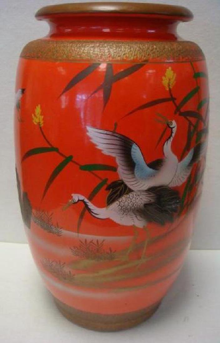 Large Ceramic Asian Vase with Hand painted Cranes: