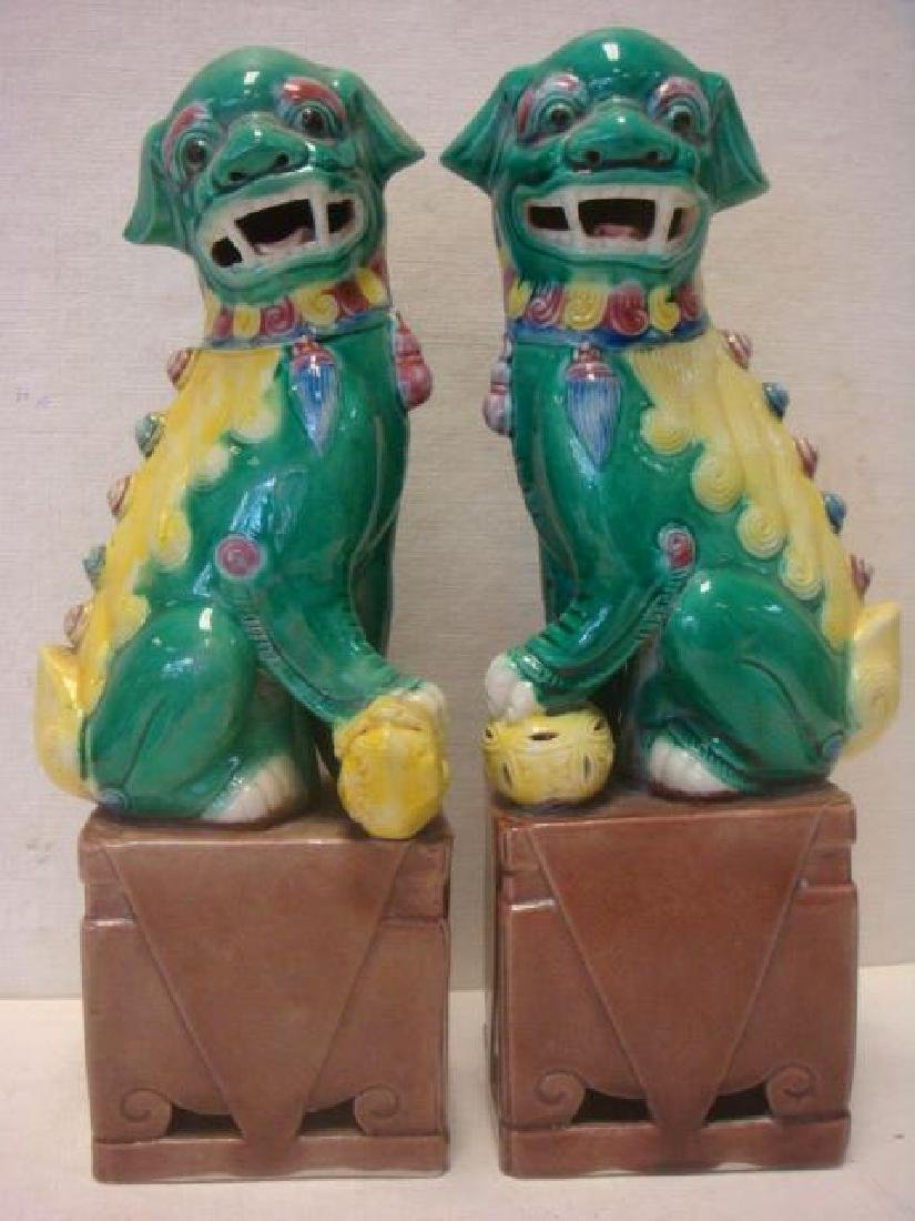 Pair of Chinese Green and Yellow Foo Dog Figurines: