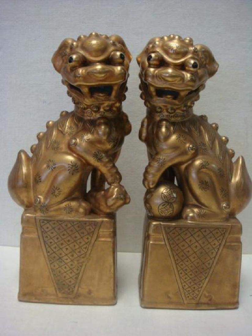 Vintage Pair of Japanese Gilt Shishi Dog Figurines: