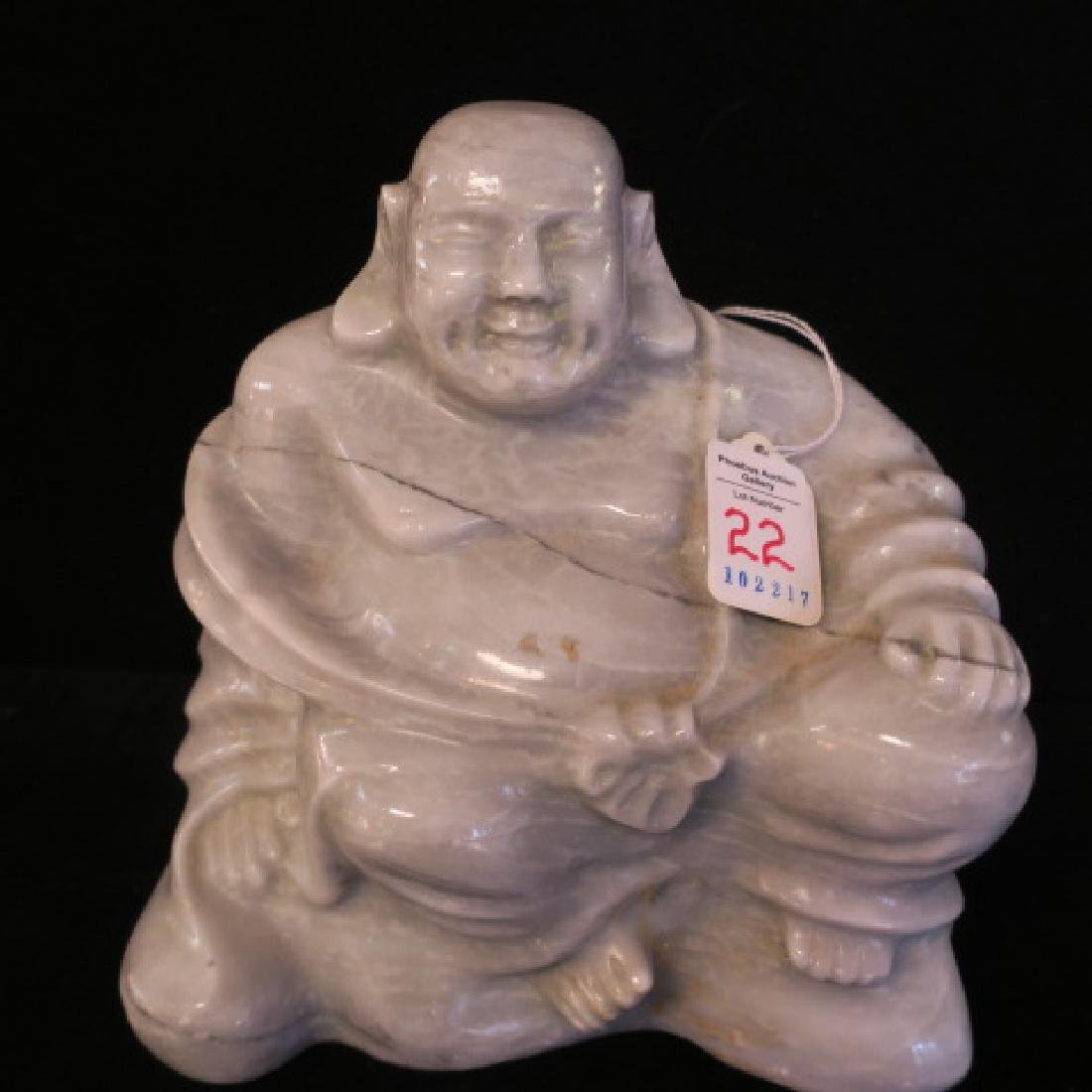Solid Carved Gray Marble Seated Buddha: