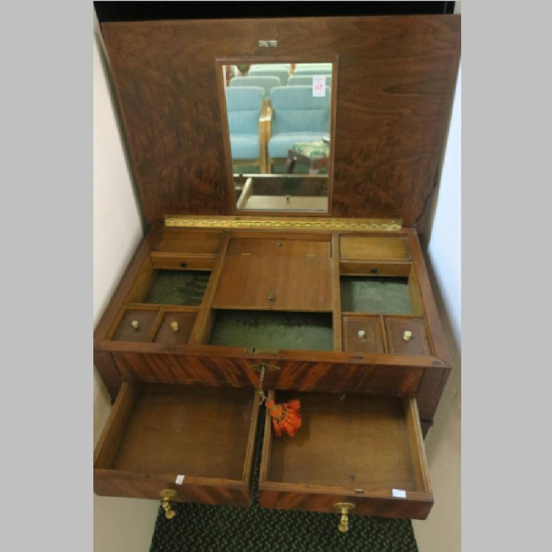 Figural Mahogany Hinged Top Vanity-Detailed Interior