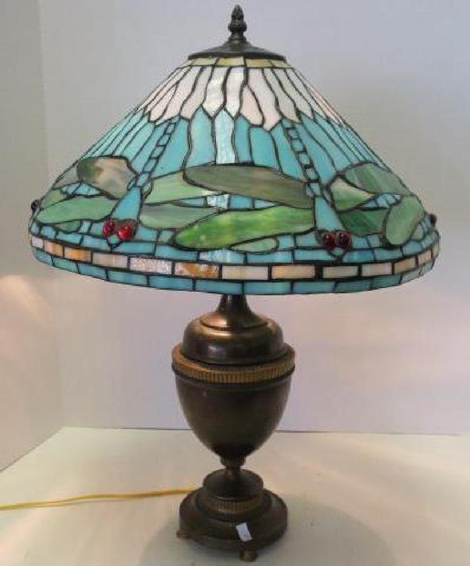 Leaded Stained Glass Dragonfly Table Lamp:
