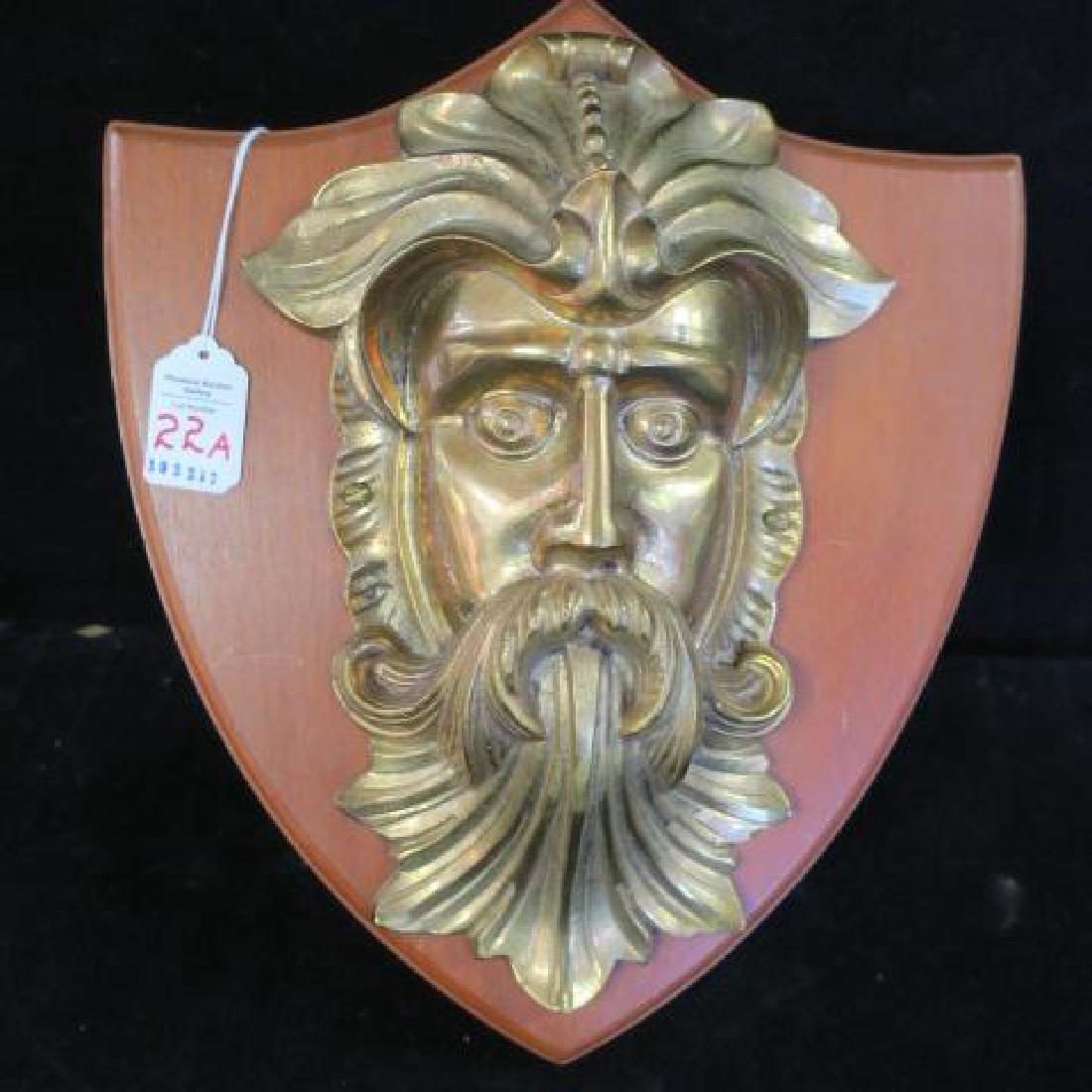 """Cast Brass """"Green Man"""" Head on Wooden Plaque:"""