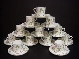 4: Wedgwood Wild Strawberry Demi Tasse Cups & Saucers: