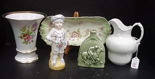 12: Porcelain, Ironstone, Vintage Bisque Figurine, etc: