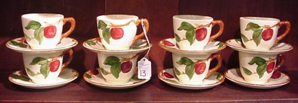 13: 8 Franciscan Apple Cup and Saucer Sets: