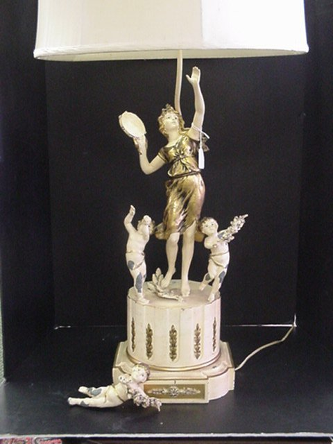 17: Figural Cast Metal Base Table Lamp: