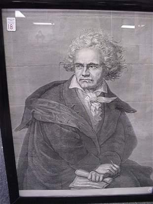 18: Framed Beethoven Lithograph:
