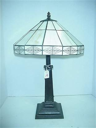 19: Slag Glass Arts and Crafts Style Lamp: