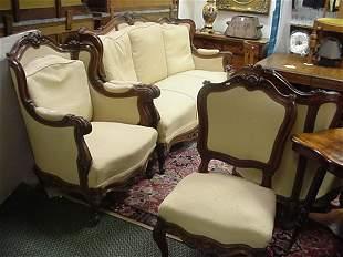 21: 5 Piece Louis XV Style Mahogany Frame Parlor Set: