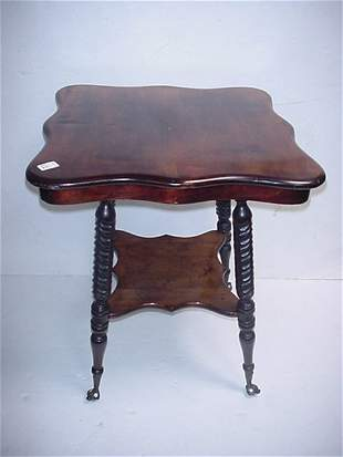 22: Shaped Top Two Tiered Mahogany Side Table: