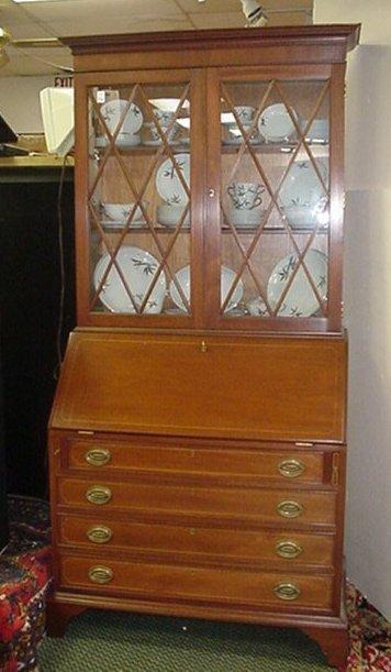 236: Biggs Inlaid Mahogany Bookcase/Secretary: