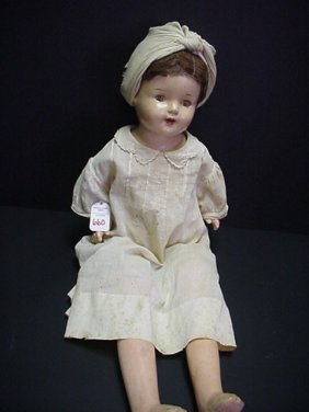 "23"" Cloth And Composition Vintage Doll:"