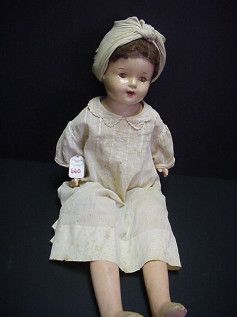 """660: 23"""" Cloth and Composition Vintage Doll:"""