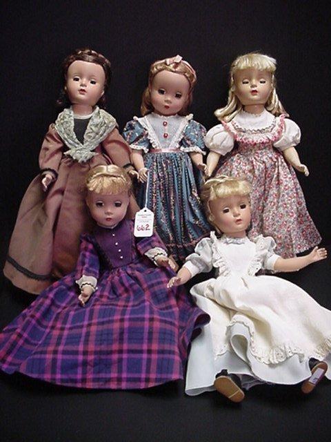 662: 5 Madam Alexander Little Women Dolls: