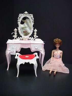 671: Barbie Vanity/Bench and Titian Bubble Head Doll: