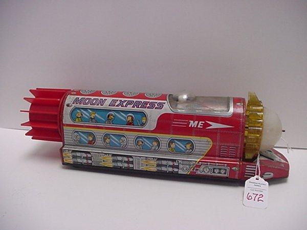 672: Tin Lithograph Battery Powered Moon Express: